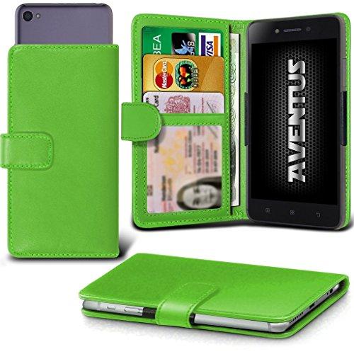 Aventus (Green Wileyfox Spark+ Hulle Premium-PU-Leder Universal Hülle Spring Clamp-Mappen-Kasten mit Kamera Slide, Karten-Slot-Halter & Banknoten