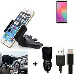 K-S-Trade® Top Set Compatible avec Huawei Honor View 10 Porte-Voiture Titulaire Smartphone Fente CD Holder Support Radio Noir + Chargeur