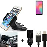 K-S-Trade Top Set Compatible avec Huawei Honor View 10 Porte-Voiture Titulaire Smartphone Fente CD Holder Support Radio Noir + Chargeur