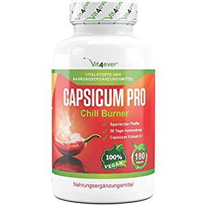 Capsicum Pro – Chili Burner – 180 Kapseln – 30 Tage Kur – Capsicum Extrakt 8:1-1000 mg – Natürlicher Chili Fatburner mit spanischem Pfeffer Extrakt – Capsicum annuum Vegan – Vit4ever