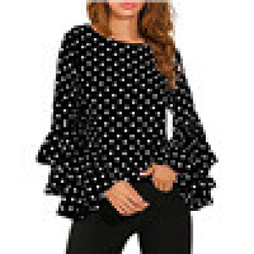 Women's Tops, OverDose Ladies Flare Sleeve Loose Polka Dot Shirt Casual Blouse
