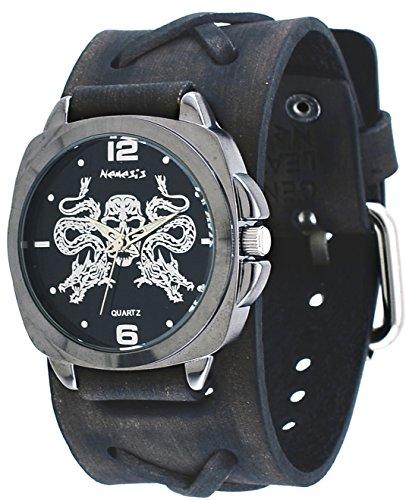 Nemesis #KFXB910K Men's Serpent Skull Emblem X Cross Wide Leather Band Watch