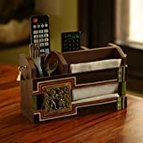 ExclusiveLane 'Dhokr-A-Rrange' Hand-Painted Wooden Pen Stand Card Holder Table Organiser, Brown
