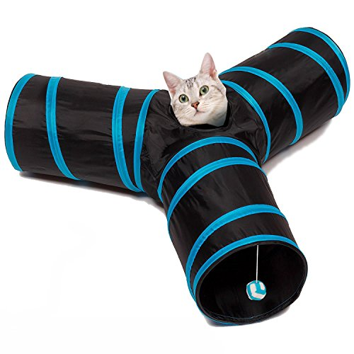 kaisha-tunnel-pour-chat-3-voies-avec-dangling-ball-toys-triple-play-polyester-acier-pliable-tube-fun