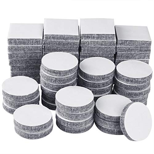 TUPARKA 60 Stück filzgleiter filzgleiter selbstklebend Möbel Filz Pads Stuhl Bein Boden Protektoren Platz und Runde selbstklebende Filzpads, Grau