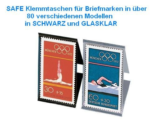 15x SAFE 930 Klarsichtklemmtaschen für Briefmarken - Streifen Tabs 30 x 200 mm Klemmtaschen schwarz / selbstklebende Klemmtaschen von HAWID exclusiv bei SAFE - 30 X Tabs