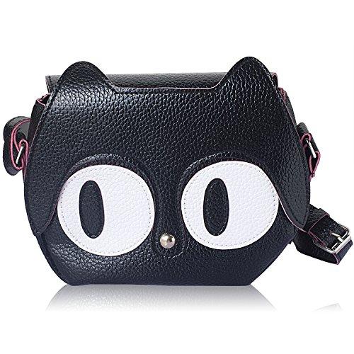 DRF Ledertasche Damen Handtasche süße Katze Schultertasche Kleine Umhängetasche #BG-W02 (Schwarz)