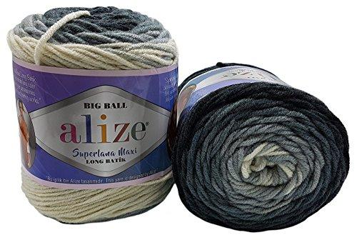 2 Batik (2 x 250 Gramm Alize superlana Big Ball Batik Strickwolle mit Farbverlauf, 25% Wollanteil, 500 Gramm Wolle mehrfarbig, Farbverlaufswolle (schwarz grau cremeweiß 6767))