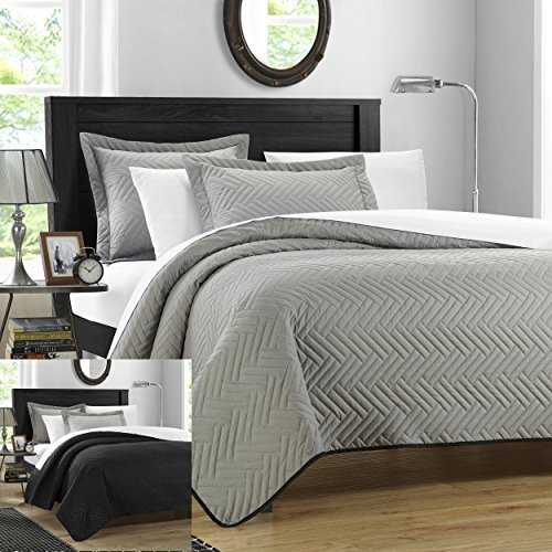 Chic Home 3 Piece Chevron Blocks Palermo Reversible Quilt, Queen, Silver by Chic Home - Chevron Block