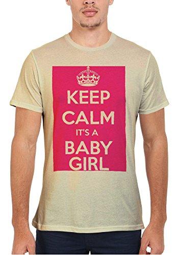 Keep Calm it is a Baby Girl Maternity Men Women Femme Homme Unisex Top T Shirt Beige