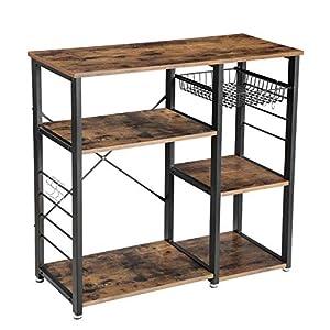 VASAGLE Küchenregal aus Metall, stabiles Standregal, platzsparendes Mikrowellenregal mit Stahlgestell und Drahtkorb, mit…