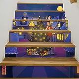 RENZHAO Treppenaufkleber 13 Stück Weihnachten Verkleiden Sich Feier Weihnachten 3D Treppen Dekorative Wandaufkleber PVC Wasserdicht 18 * 100cm