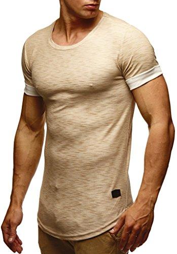 Leif Nelson Herren Sommer T-Shirt Rundhals-Ausschnitt Slim Fit Baumwolle-Anteil Moderner Männer T-Shirt Crew Neck Hoodie-Sweatshirt Kurzarm lang LN6356 Beige X-Large