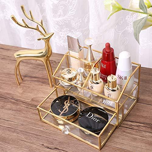 BelleLife Glas Klar Make Up Organizer Kosmetische Aufbewahrungsbox Display Make-Up Fall für Palette Pinsel Stiftungen Lippenstift Nagellack Haarnadeln, Großes Geschenk