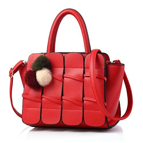 Ali Solide Borsa A Tracolla Della Borsa Del Cuoio PU Ms. Messenger Bag Red