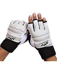 Panegy Boxe Gants Mitaines Sparring Demi-doigt - Gloves Pro pour entraînement compétition de Boxing Muay Thai Kickboxing Grapping Escalade Fitness Musculation - Adulte Mixe Blanc - M