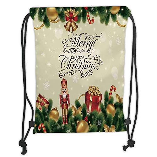 nted Drawstring Sack Backpacks Bags,Christmas,Noel Ornaments with Birch Branch Cute Ribbons Bells Candy Canes Art Image,Golden Red Green Soft Satin ()