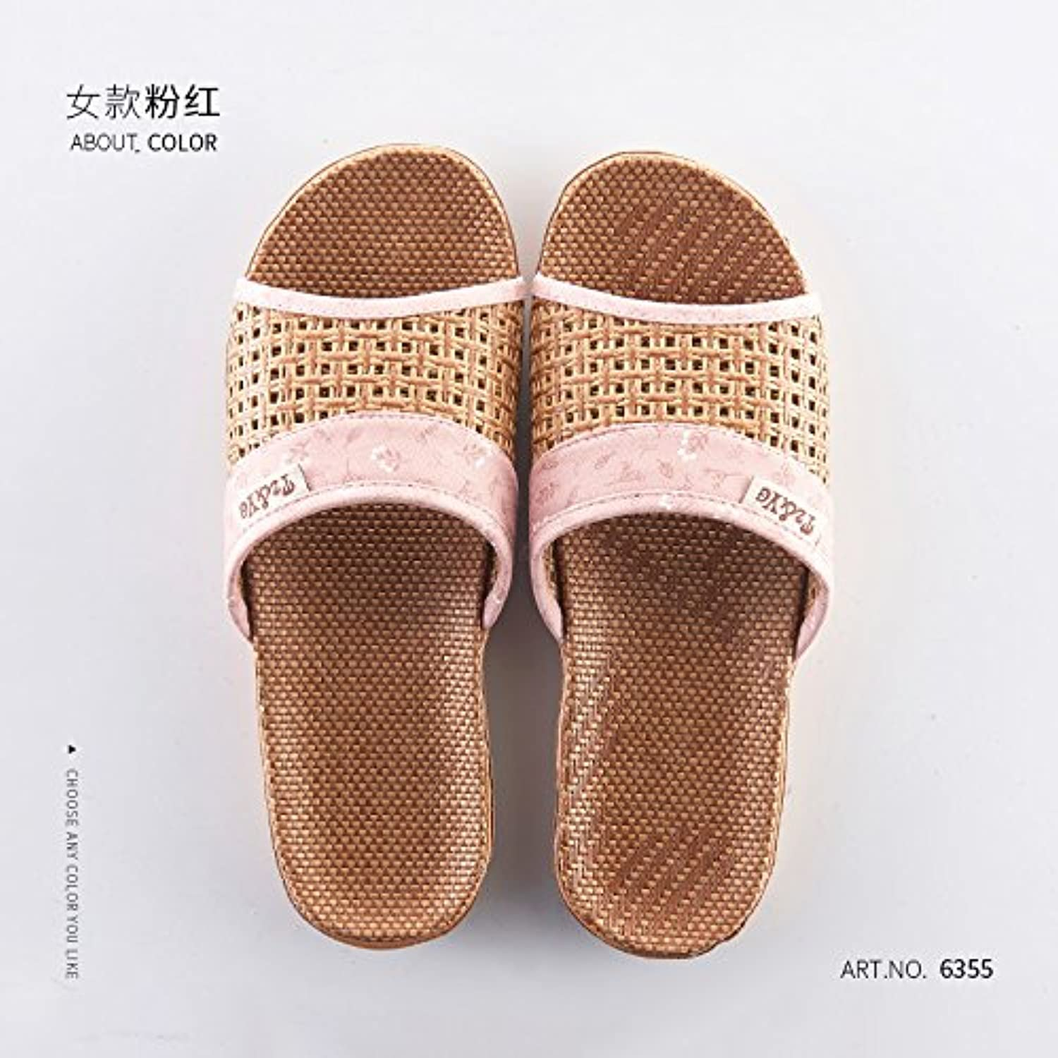 fankou The Cool Summer Slippers, Anti-Slip, Older Persons in The Grass, Bamboo Slippers,39/40,B Female Pink