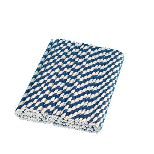 500 Bio Trinkhalme Papiertrinkhalme Strohhalme Trinkröhrchen aus Papier 6x220mm dunkelblau blau weiß gestreift