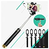 Heartly Luxury Extendable Folding Wired Selfistick Monopod With Adjustable Phone Holder & Wired Aux Cable For Mobiles And Cameras - Blue + Orange