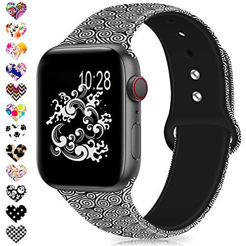 Jiamus Für Apple Watch Kompatibel Armband 38mm 40mm 42mm 44mm, Soft Silikon Classic Ersatz Uhrenarmbänder für iWatch Series 4, Series 3, Series 2, Series 1 -