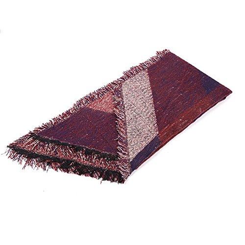DELEY Automne Hiver Femme Ladies Echarpe Vintage Carreaux Plaid Tissu Chaud Confortable Foulards Wrap Châles Etoles Stole Scarf Rouge