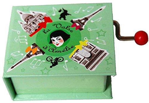 Caja de musica con Libro manivela y melodia de Amelie