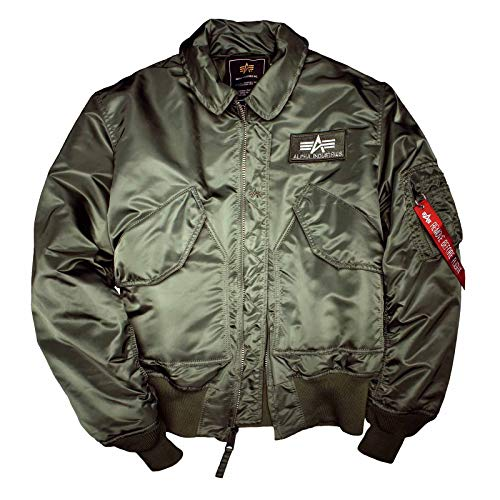 Alpha Industries Flight Jacket CWU 45 Top Gun Bomber Jacke aus Nylon hat EIN warmes Steppfutter mit Polyesterfüllung Pilotenjacke (4XL, sage Green) (Jacket Nylon Flight)