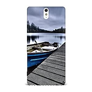 Sony Xperia C5 Case, Sony Xperia C5 Hard Protective SLIM Cover [Shock Resistant Hard Back Cover Case] for Sony Xperia C5 -Calm Forest Lake Dock Row Boat