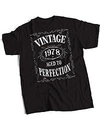 bybulldog® Vintage 1978 Aged To Perfection 40th Birthday Present Gift Mens Premium Black T-Shirt Small to 3XL