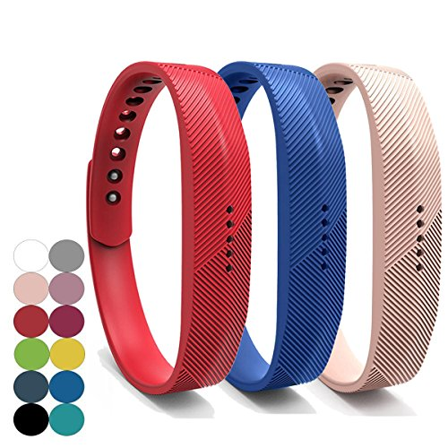 YEFOD 3pcs/Set Fitbit Flex 2 Armband, Weiche Silikon Ersatzarmband für Fitbit Flex 2, Große Größe, Armbandlänge: 6.7 - 8.1 Zoll