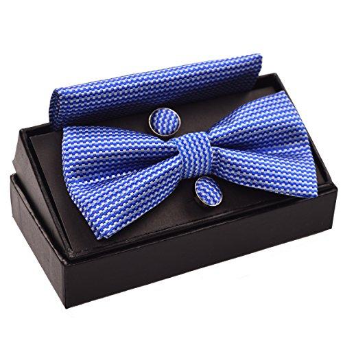 Hombres Vintage de lazo a cuadros corbata & pañuelo y gemelos Set azul azul real Talla única