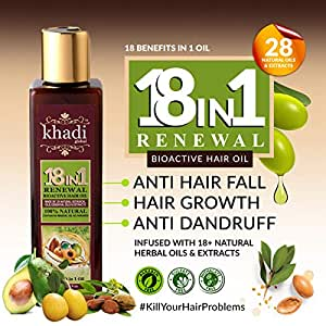 Khadi Global 18 In1 Renewal BioActive Hair Oil with 18+ Natural Herbal Oils and Extracts for All Type of Hair Problem (200 ml/6.76 fl.oz)