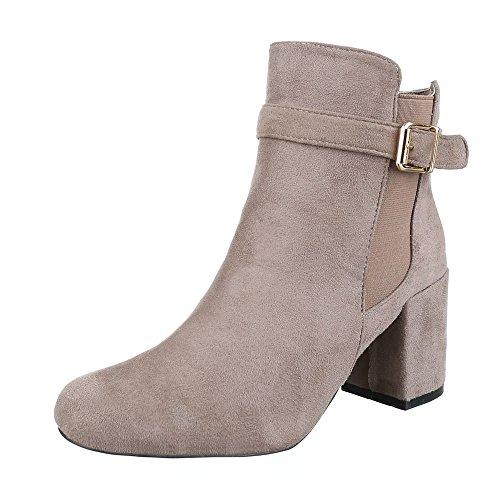 Klassische Stiefeletten Damen Schuhe Schlupfstiefel Pump Bequeme Reißverschluss Ital-Design Stiefeletten Beige