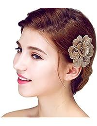 YAZILIND Elegante Tocado de Pelo de Novia Pines de Encaje Flores de aleacion de Pelo de la Boda Accesorios Mujeres y Ninas