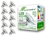10x greenandco® LED Spot ersetzt 40 Watt GU5.3 MR16 Halogenstrahler, 6W 470 Lumen 3000K warmweiß SMD LED Strahler 36° 12V AC/DC Glas mit Schutzglas, nicht dimmbar, 2 Jahre Garantie