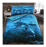 MA ONLINE Super weiches, bequemes 3D Panel-Bedrucktes Bettwäsche-Set mit bedruckten Kissenbezügen für Einzel- / Super-King-Size-Betten, Dolphin Print Single, Einzelbett