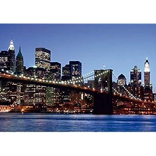 AG Design FTS 0107  Brooklyn Bridge New York, Papier Fototapete - 360x254 cm - 4 teile, Papier, multicolor, 0,1 x 360 x 254 cm