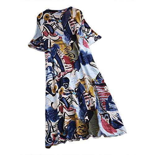 AIni Chemise Femme Coton Manches Courtes en Vrac Les Loisirs L'Imprimé Col en V Pas Cher Linge De Maison VêTements Robe Ete Femme Longue Et Moyen (XXL,Bleu)