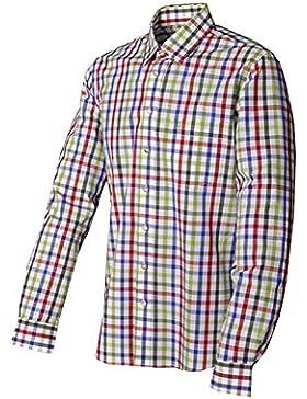 Trachtenhemd Roman Langarm rot/tanne Karo Slim Fit Almsach