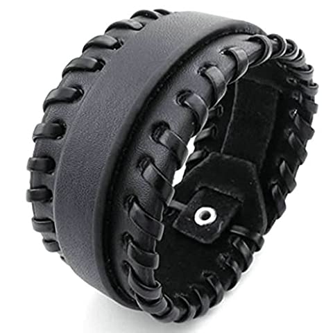 amdxd Bracelet jonc plaqué or style vintage hommes femmes bracelets Bracelet Gourmette longueur: 20,3cm Noir