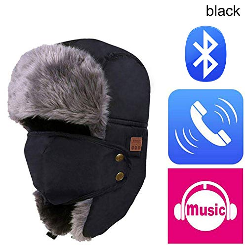 Alextry Soft Winter Warm Bomber Hat Unisex Kopfhörer mit Mikrofon und Headset mit Mikrofon Black