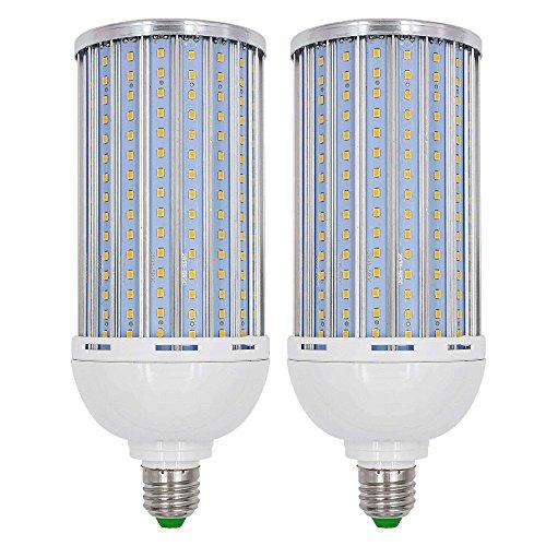 Granvoo 2-er Pack E27 65W LED Mais Birne mit Aluminium Platte Warmweiß AC 85-265V 300X2835 LEDs - 65w Birnen