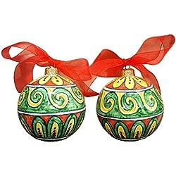 CERAMICHE D'ARTE PARRINI- Ceramica italiana artistica , 2 palle per albero di Natale , dipinta a mano , made in ITALY Toscana