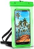 ONEFLOW Wasserdichte 360° Handy-Hülle für jedes Sony Xperia [Full-Body Cover] Touch-Funktion und Kamera-Fenster + Armband und Schlaufe zum Umhängen, Grün