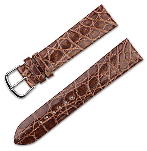 Cinturino per orologio in vera pelle di coccodrillo, piatto, da deBeer 20MM...