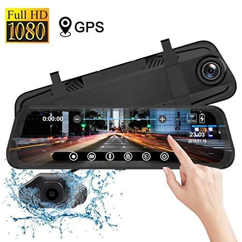 """Iseebiz 10\"""" Spiegel Dashcam mit GPS-Ortung, Dual Full HD 1080P Autokamera mit G-Sensor, ADAS, Loop-Aufnahme, Weitwinkelobjektiv, Parkmonitor, Nachtsicht IP68 wasserdichte Rückfahrkamera für Auto"""