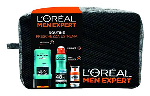 L'Oréal Paris Men Expert Confezione Regalo Uomo Power: Gel Doccia Cool Power, Crema Idratante Viso Hydra Energetic e Deodorante Cool Power