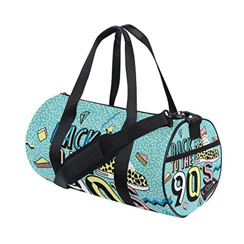 ALAZA Gym Sporttasche zurück zu dem 90S Retro-Art-Reise-Düffel-Beutel für und