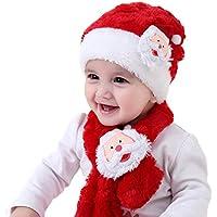 Gorro Navideño y Sombreros de Santa Claus Tradicionales Rojos y Blanco Accesorios de Navidad para Regalos de Festividad de Jonami (Conjunto de gorro y bufanda para niños)